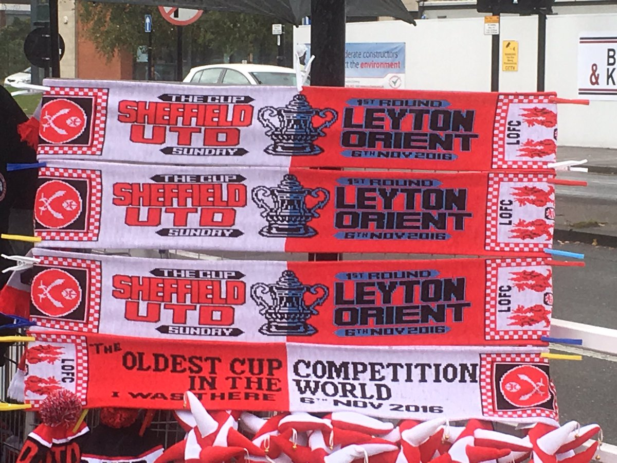 Half-half scarves for Sheff United vs Leyton Orient in the FA Cup 1st Round, seriously
