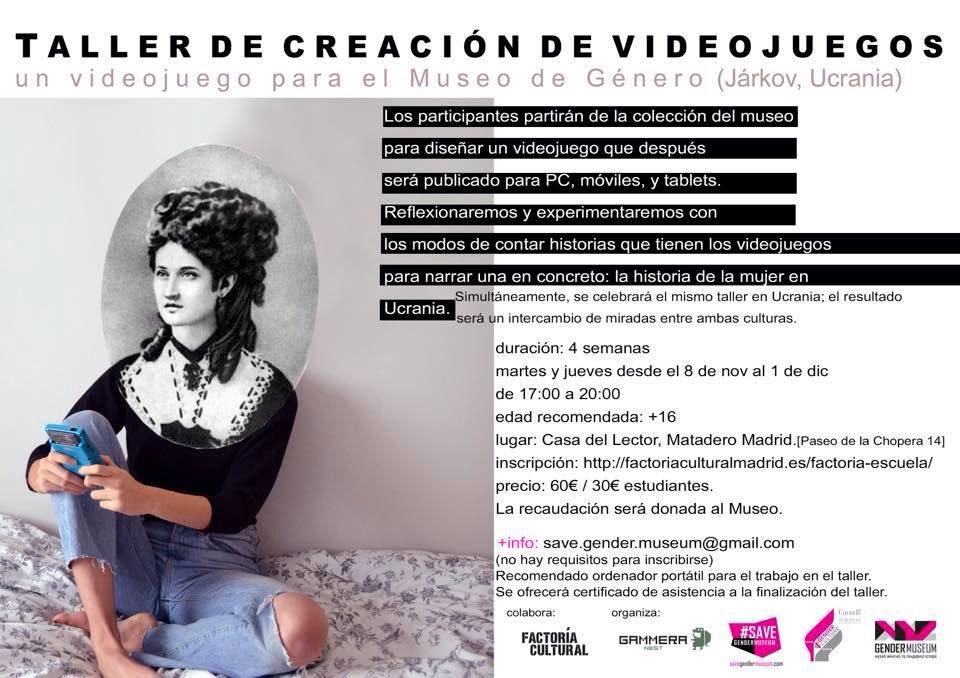 ¡Último día de inscripciones! taller de creación de un #videojuego de #género para @GenderMuseumUKR con @GammeraNest https://t.co/6Uh1Xyqcya