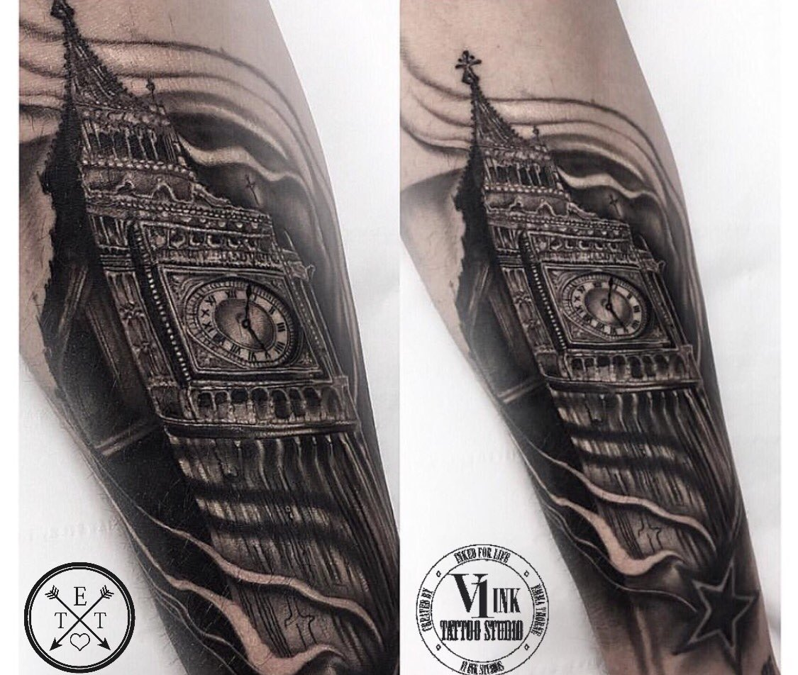 V1 ink on twitter big ben cover up tattoo done by v1 39 s for Big tattoo cover up