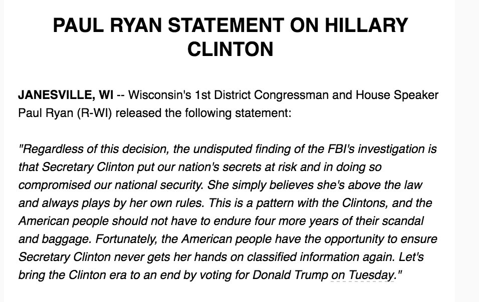 Inbox: Paul Ryan Statement on Hillary Clinton