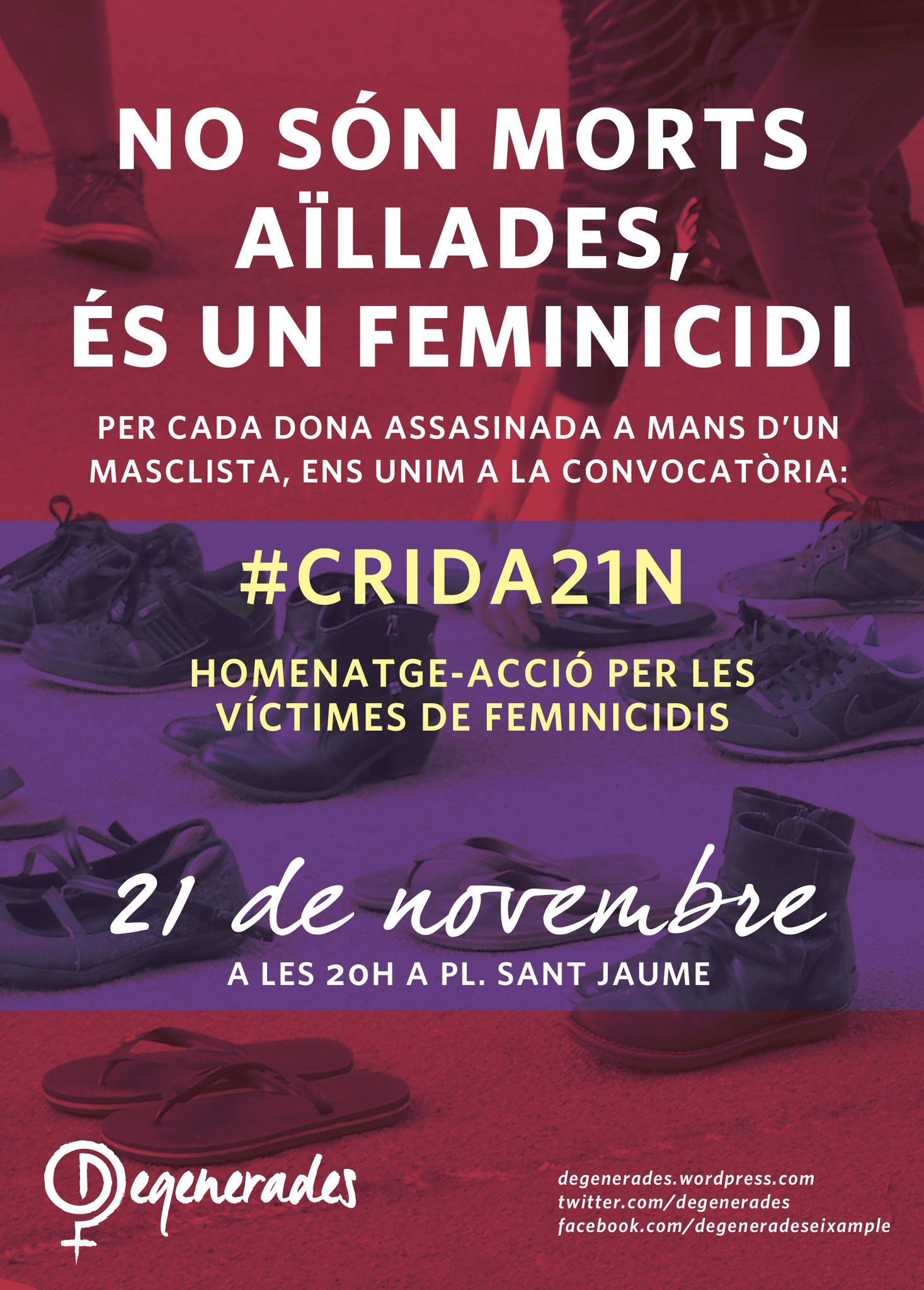 Demà no farem acte de #feminicidis, ens reservem energies pel #21N a la Plaça de Sant Jaume #EnsVolemVives https://t.co/FtedrGQdYb