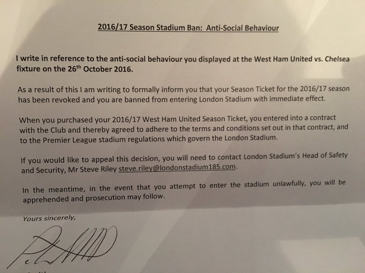 West Ham Football On Twitter A Stadium Ban Letter Sent Out To A