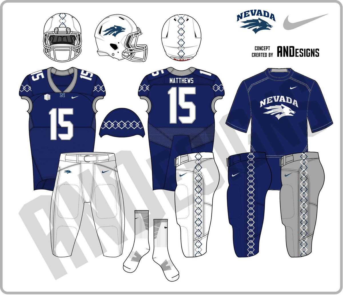 And1 Designs On Twitter Nevada Wolf Pack Football Uniform Concepts Mt West Battleborn Nevada Wolfpack
