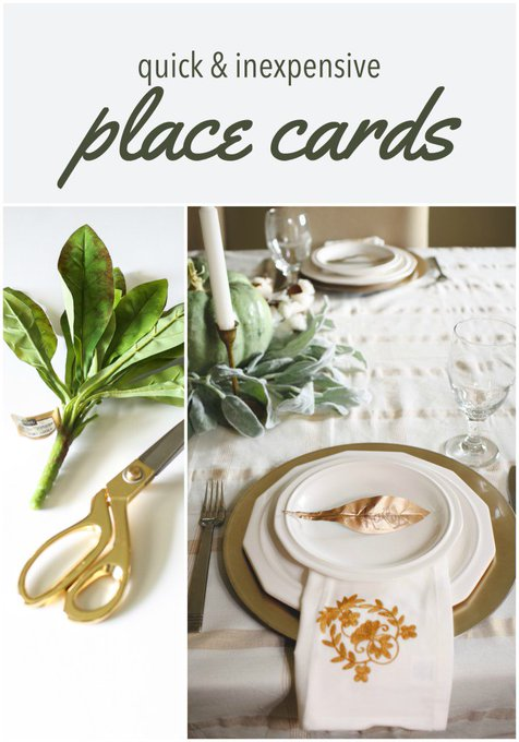 Leaf place cards for your holiday gatherings DIY