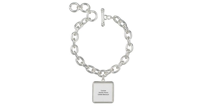 Gift Create Custom Square Photo Charm Bracelet DIY