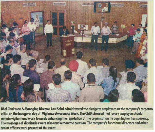 BHEL CMD Atul Sobti celebrated Vigilance Awareness Week . @PMOIndia #TransformingIndia https://t.co/9wtxsjaB6w