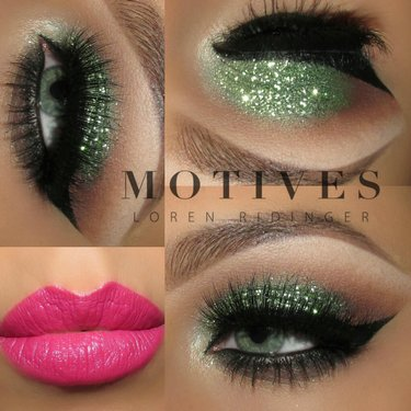 The perfect holiday eye combo green & glitter. Create the look here makeup makeupvideos