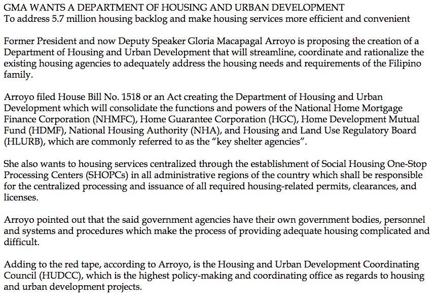 Department Housing Urban Development : Arroyo proposes