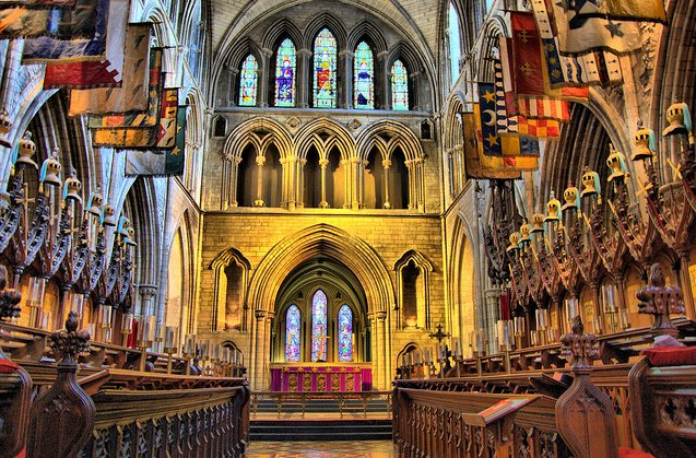 The magnificent inside of Saint Patrick's Cathedral Dublin, built in honour of Ireland's patron saint, Saint Patrick #LoveDublin https://t.co/5mCS4L1mp9
