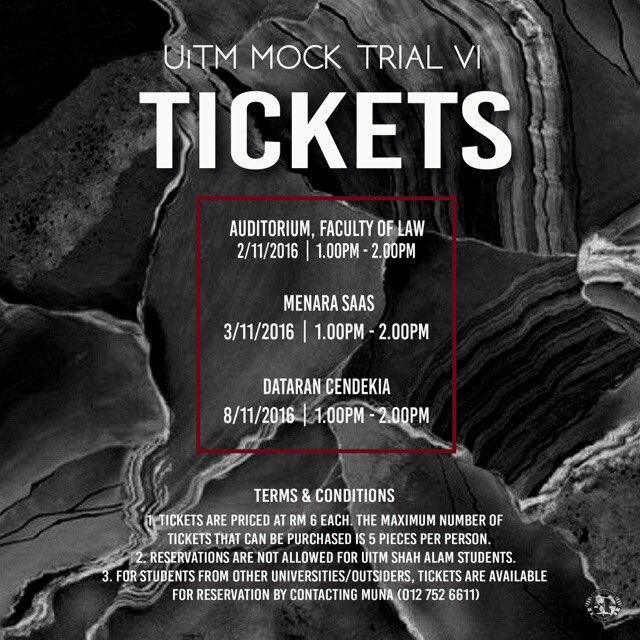 uitm mock trial vii on you can get your genesis tickets  3 30 am 7 nov 2016