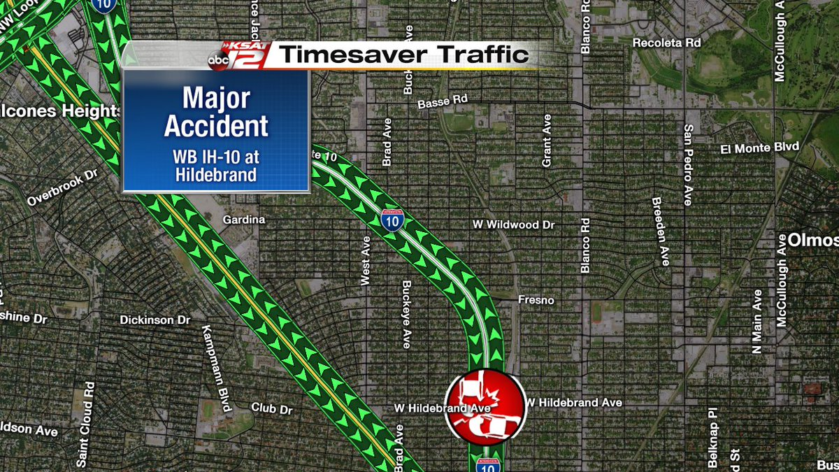 Update: major accident wb ih-10 at hildebrand, expect delays leaving