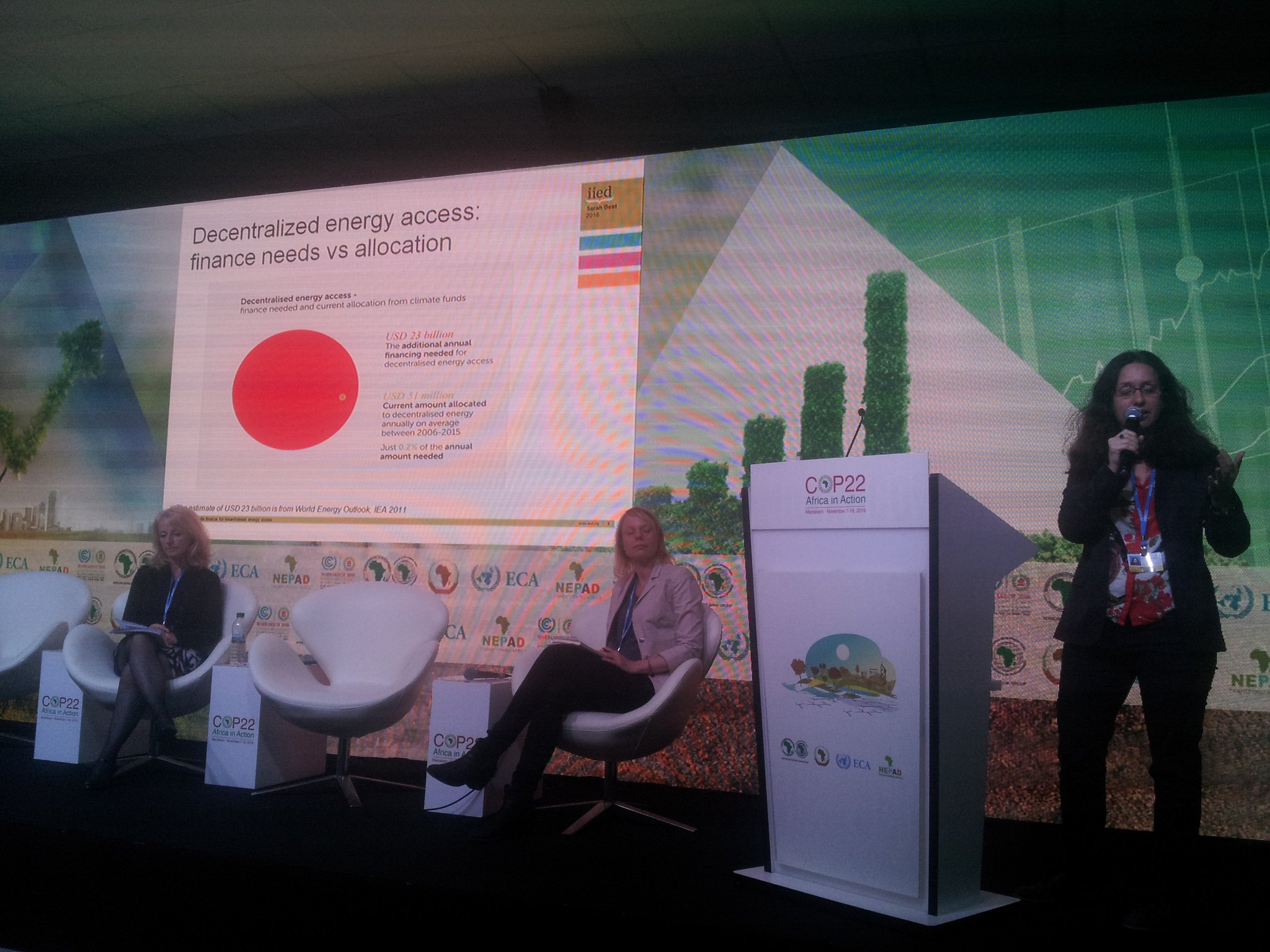 Sarah Best of @IIED gives an overview of the climate finance to DRE at @hivosorg side event at #COP22 https://t.co/TAo0cITpsl