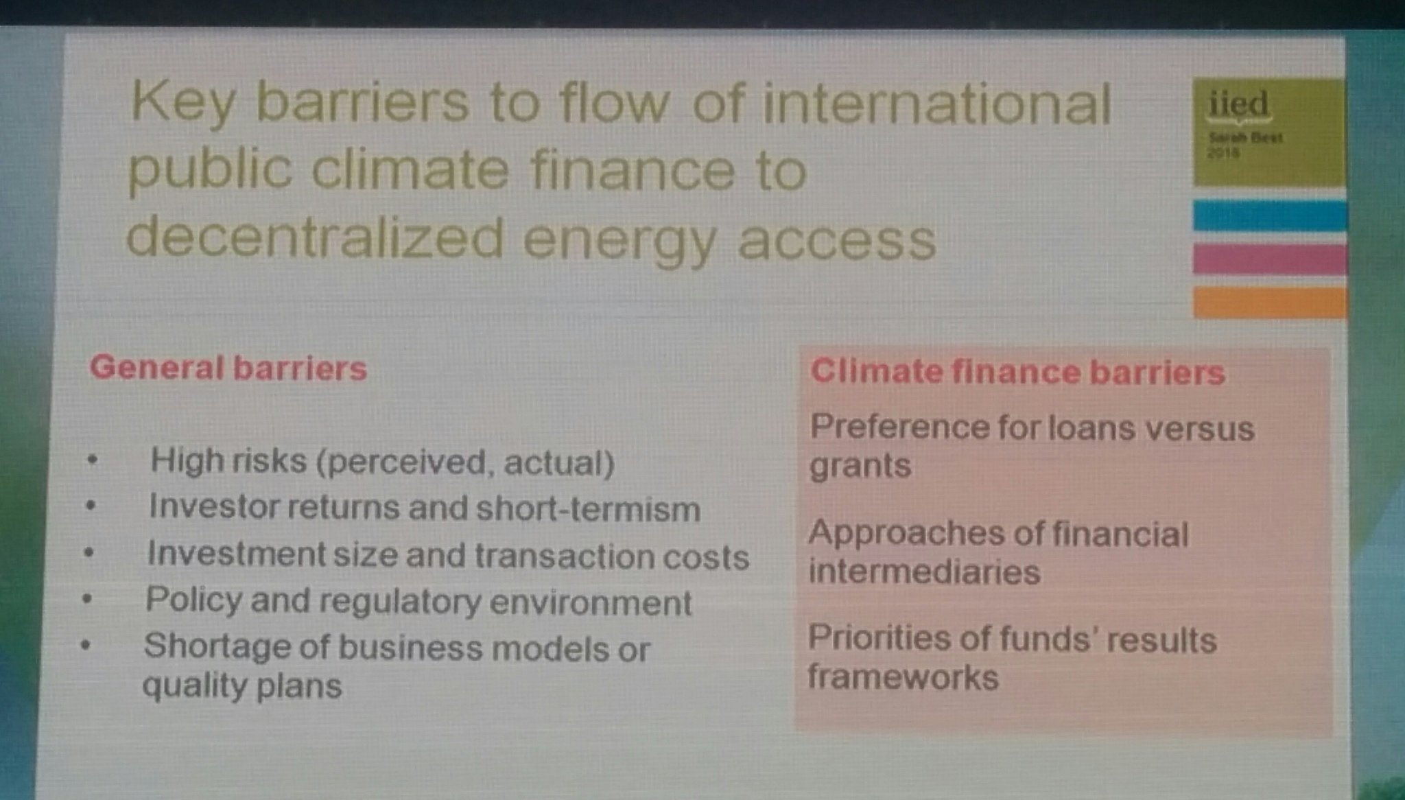 Three #climatefinance barriers identified by Best, including a preference for loans rather than grants for #energyaccess #COP22 https://t.co/06ZwVD0JEB