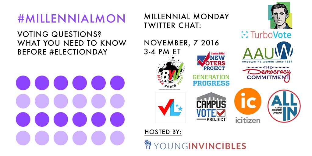 Welcome to #MillennialMon! Today's topic: Voting! What You Need to Know Before #ElectionDay. https://t.co/K3tM7h9V6w