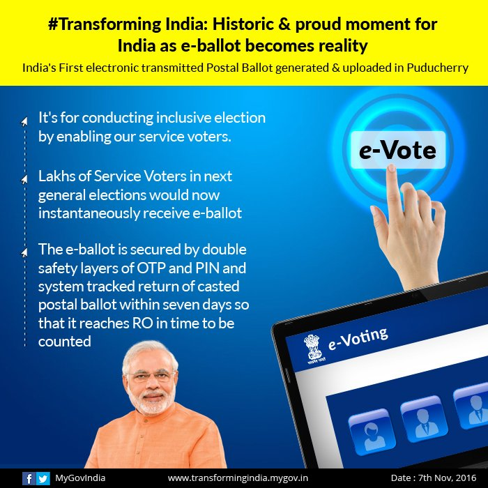 India's first electronic transmitted postal ballot generated & uploaded in Puducherry. #TransformingIndia https://t.co/cjKSFPNdM9 https://t.co/MO5p69XAwH