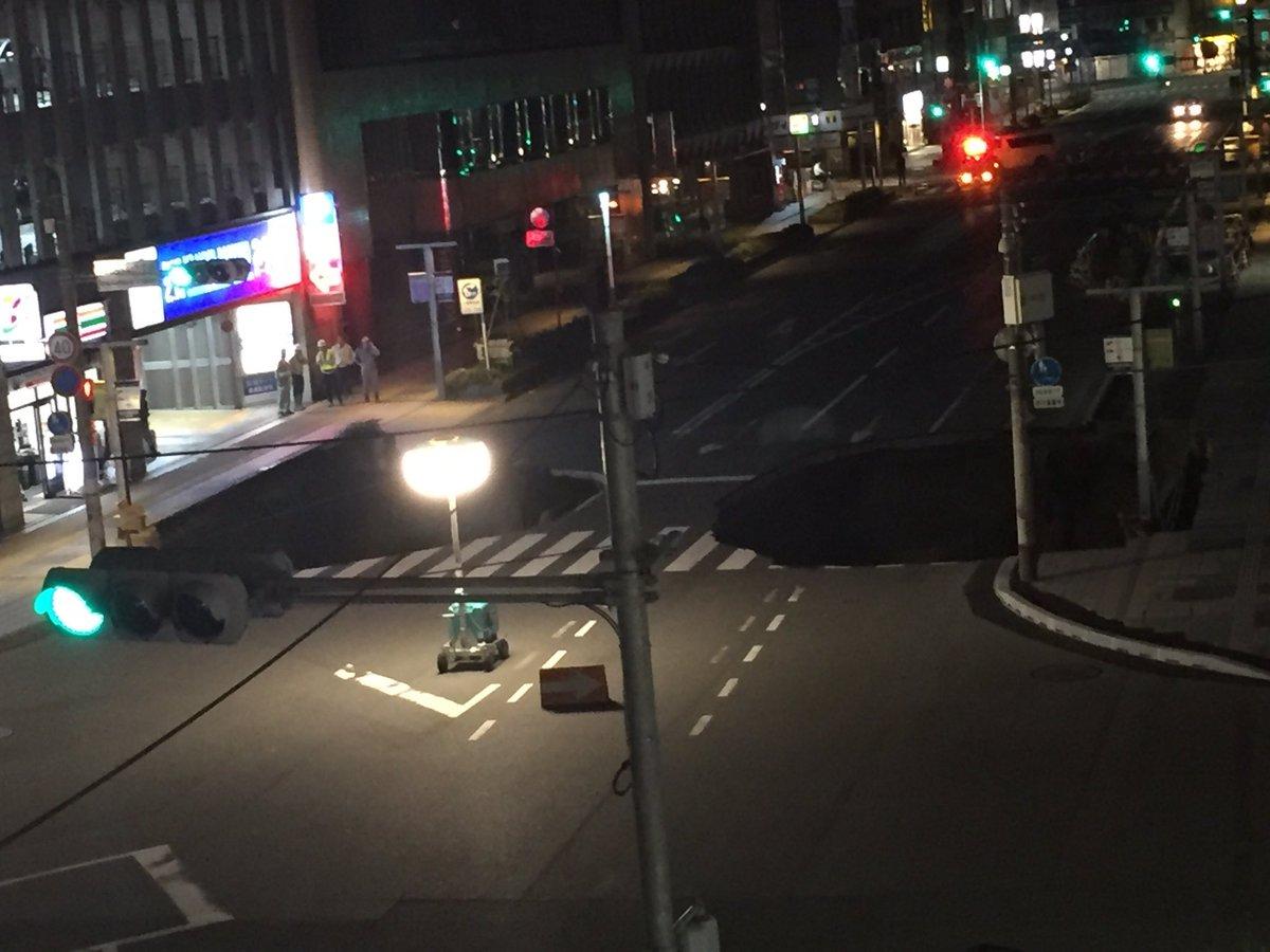 博多駅前の交差点陥没