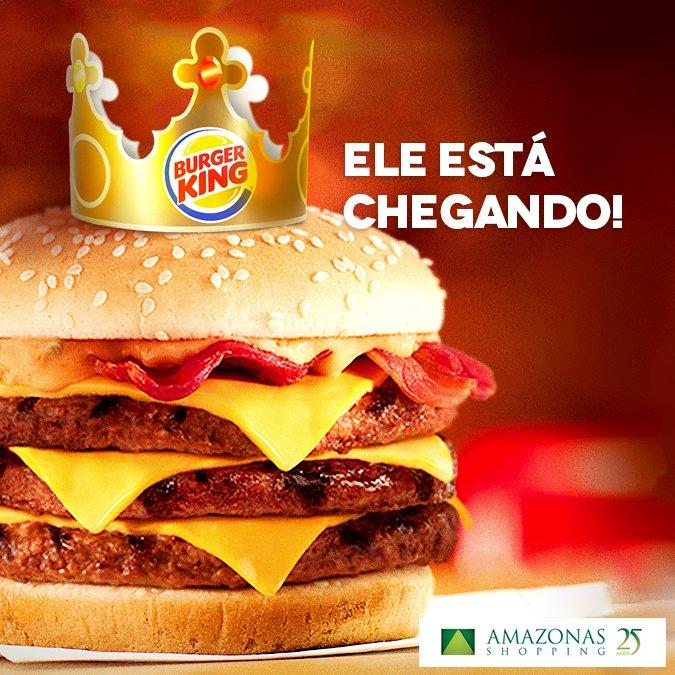 Achou que era mentira? Ele está chegando sim!  Nós não demos a notícia primeiro, mas teremos o primeiro Burger King de Manaus! 🍔 🍟 https://t.co/ZHYG0cdrEz