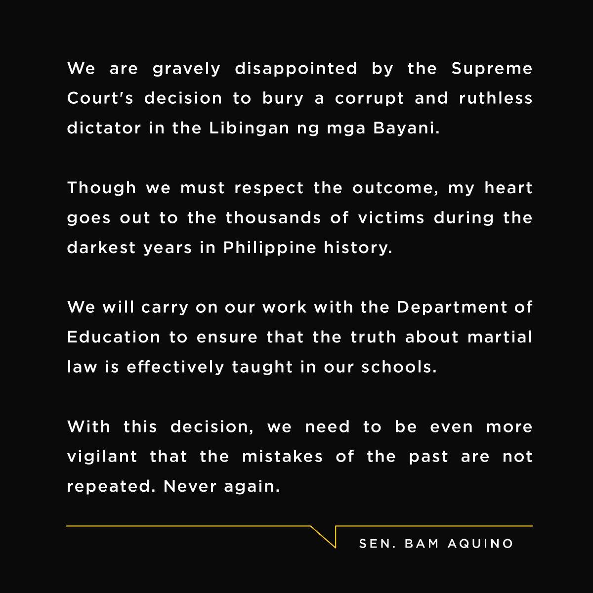Sen. Bam Aquino on SC decision allowing Marcos' burial in LNMB. https://t.co/idlFXd3VGo