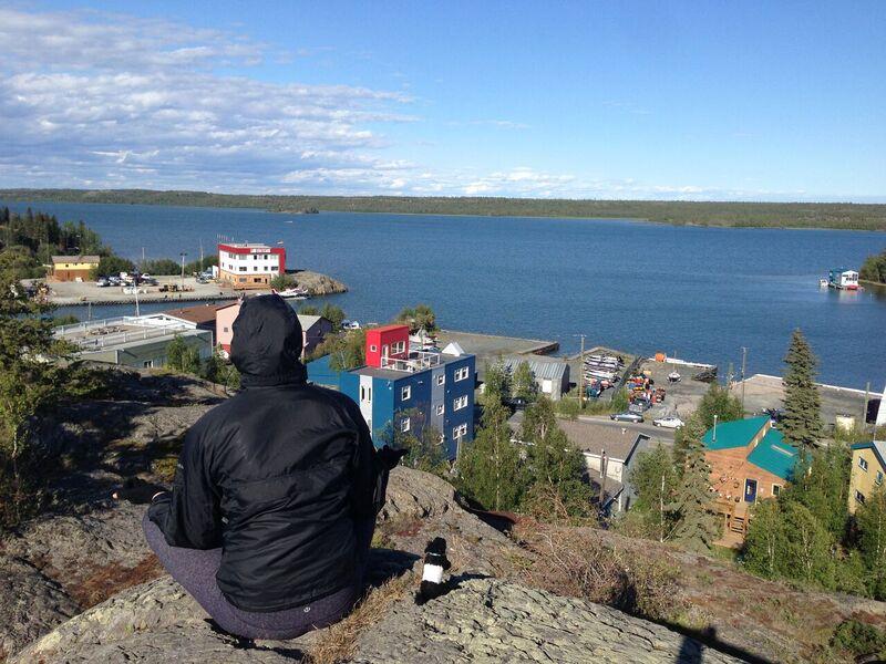 Meditating with my little buddy Beltie in Yellowknife @BeltieTravels #Yellowknife #TravelCanada