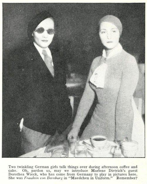 "Tanja on Twitter: ""Marlene Dietrich and Dorothea Wieck in 1933… """