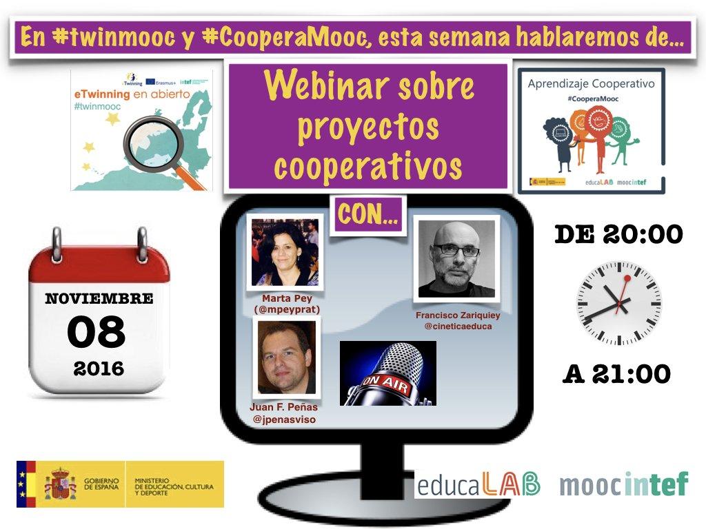 ¡Buenos días martes! Esta tarde estaremos en el encuentro virtual #twinmooc y  #CooperaMooc 20:00 con @mpeyprat @cineticaeduca @jpenasviso https://t.co/E7NYqtz0DO