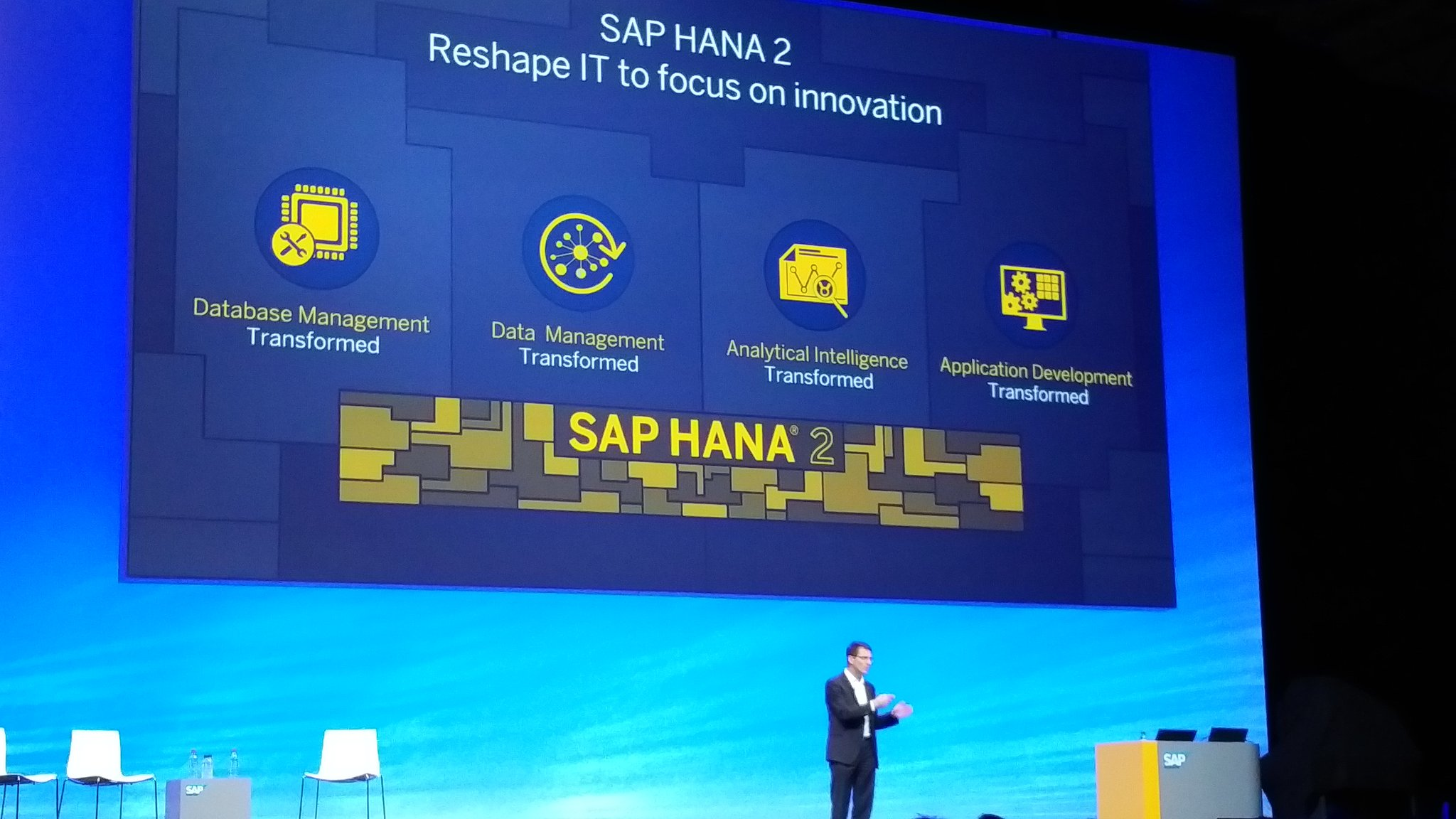 sap teched day keynote images tweets middot holgermu middot storify and leukertb announces sap hana 2 sapteched