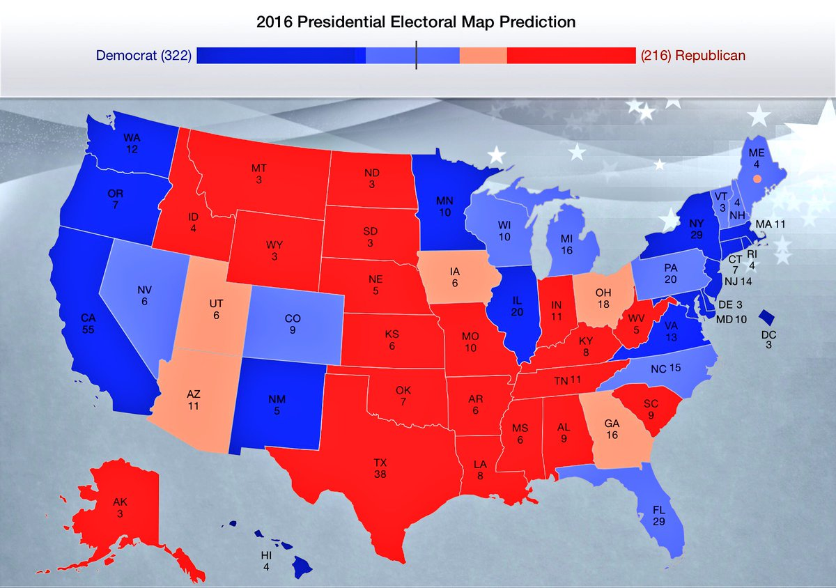 Olgun Uluc On Twitter Here It Is My 2016 Presidential Electoral - Us-electoral-map-prediction