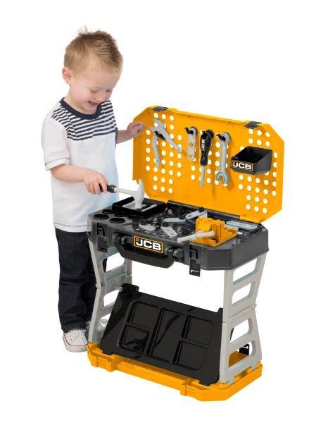 Jcb Kids Boys Role Play Pop Up Workbench Play Tool Case