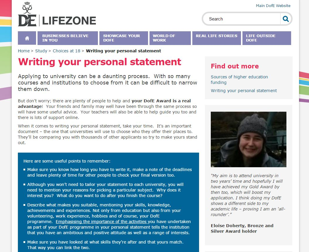 dofe personal statement
