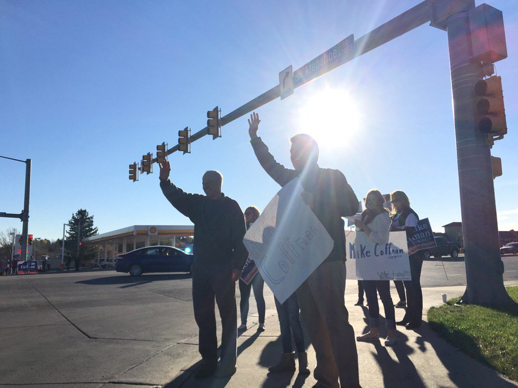 Great waving signs this morning with my friend @coffmanforco and some hard-charging volunteers! #copolitics