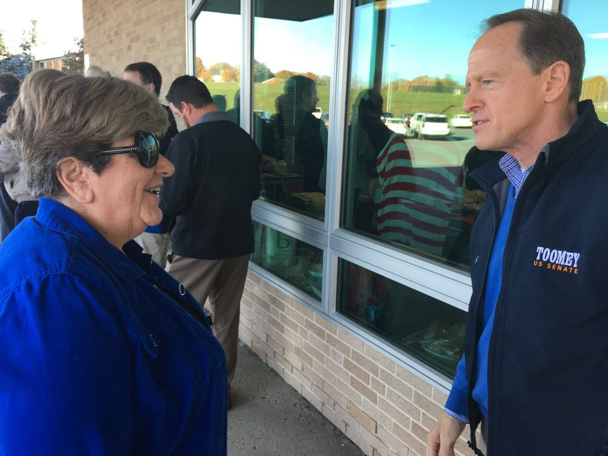 Pat stopped by a polling location in Orefield to visit with voters.