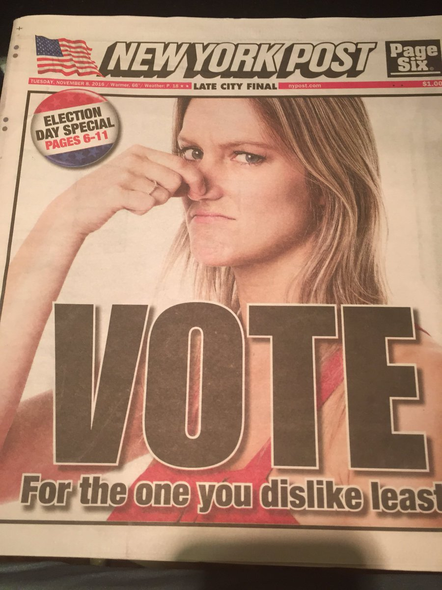 Today's Election Day tabloid headline #NYC @nbcwashington #Decision2016 https://t.co/dXbsBSd5YH
