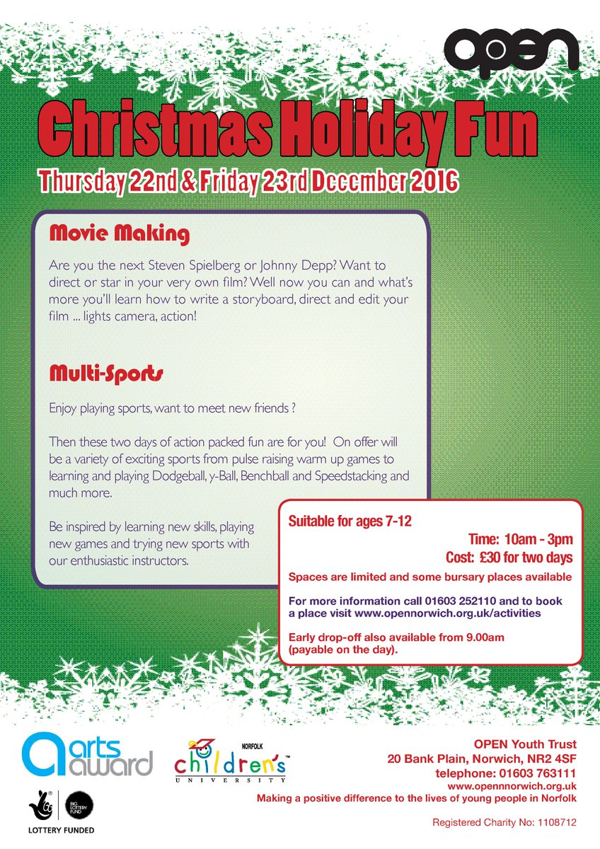 open norwich on twitter hot of the press christmas activities for 7 12 year olds bookings via httpstcolzurlsfuxx httpstco5bxwyfgqmr - What Do 12 Year Olds Want For Christmas