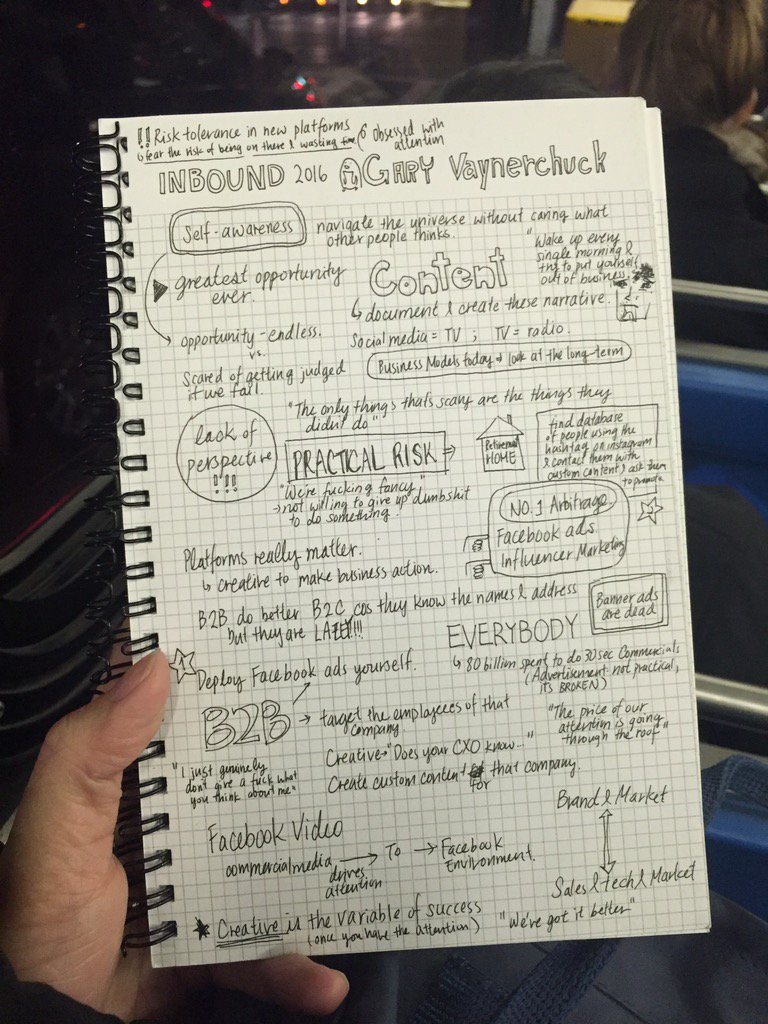 Gonna spell out f-u-c-k in all the empty spaces at @garyvee keynote notes #sketchnotes #inbound16 #urbanjournaling https://t.co/2O7PjuzTvF