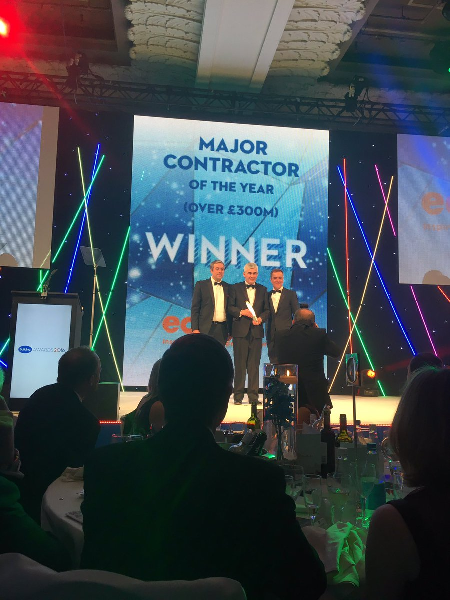 Way to go @WatesGroup, you're our Major Contractor of the year (over 300m) #BuildingAwards winner