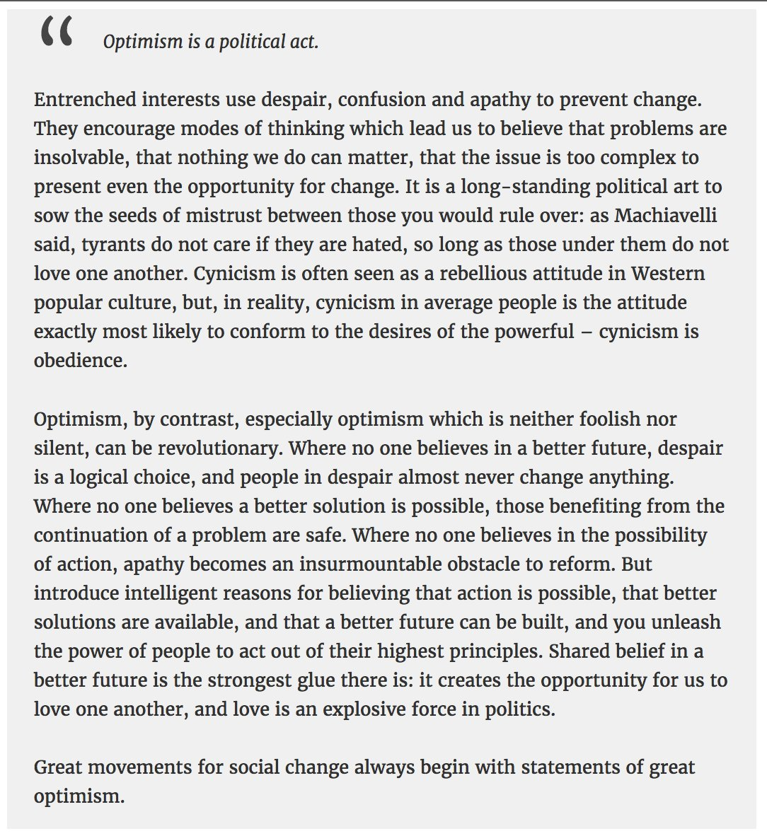 Oli Barrett On Twitter Optimism Is A Political Act In Fact  Never Miss A Moment
