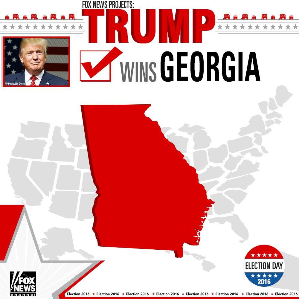 Fox News projects @realDonaldTrump wins Georgia. #ElectionNight #FoxNews2016