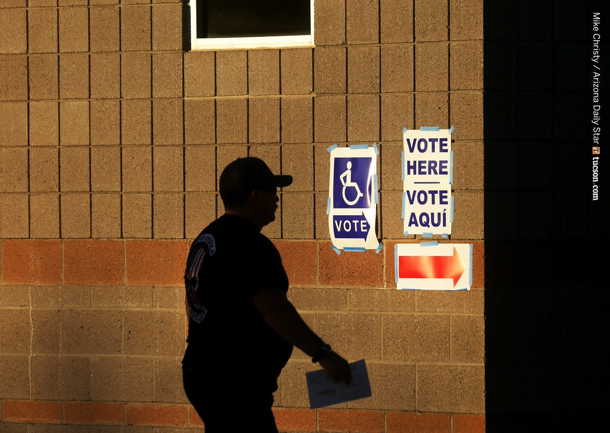 A voter heads in to cast his ballot at #Cienega High School out in #Vail. #tucsonvotes #Election2016