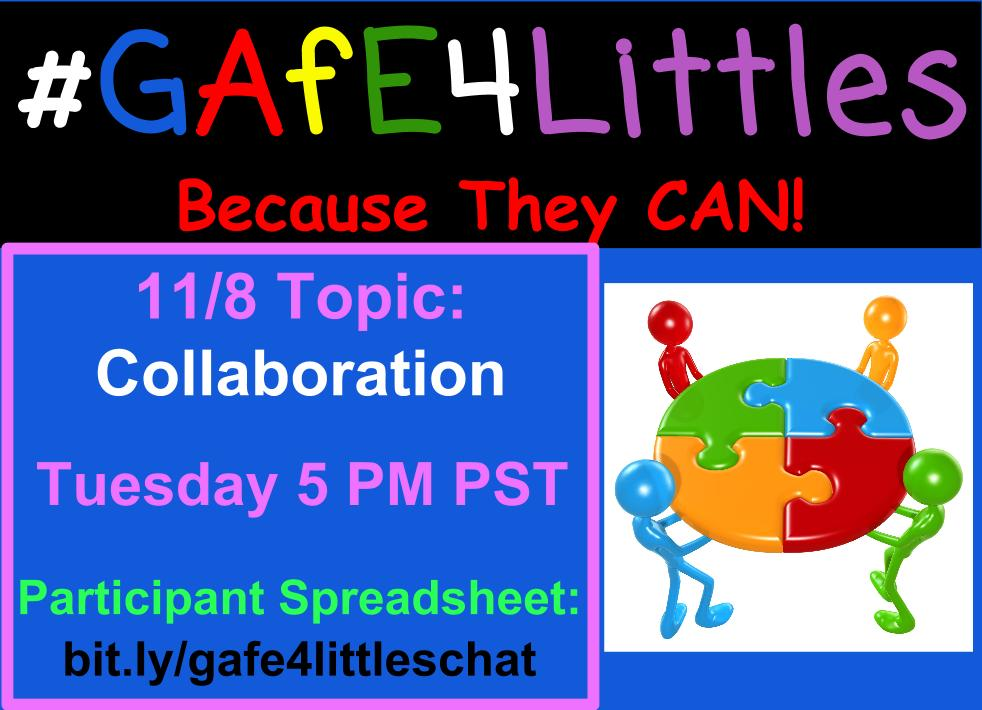 #gafe4littles chat is happening NOW thank you @miss_meikle for coming up with today's questions and co moderating with me :) https://t.co/NVrG99lERR