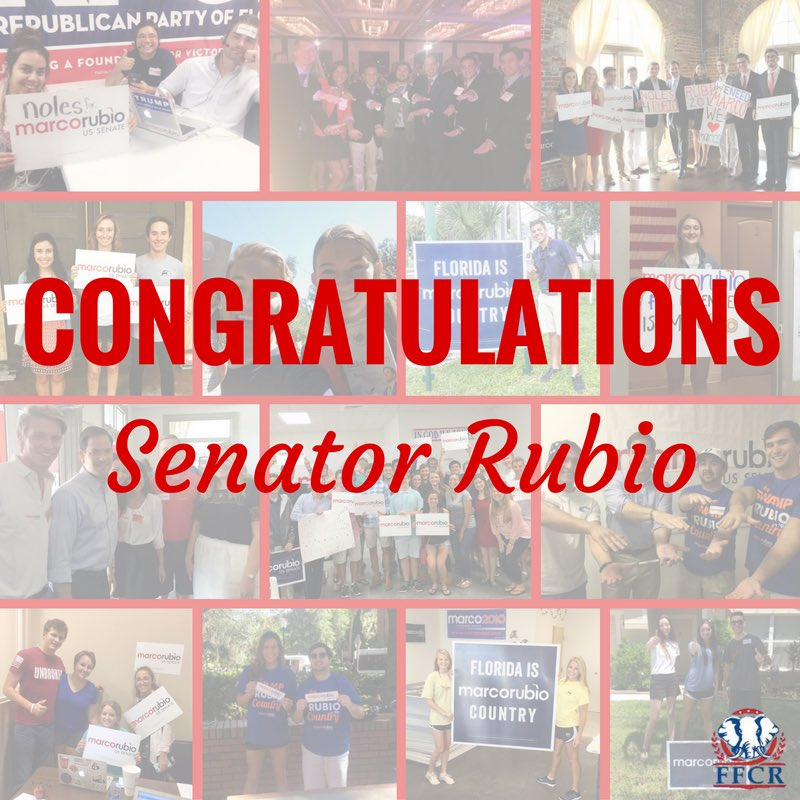Congratulations @marcorubio! We're so excited to have you as our Senator for 6 more years!