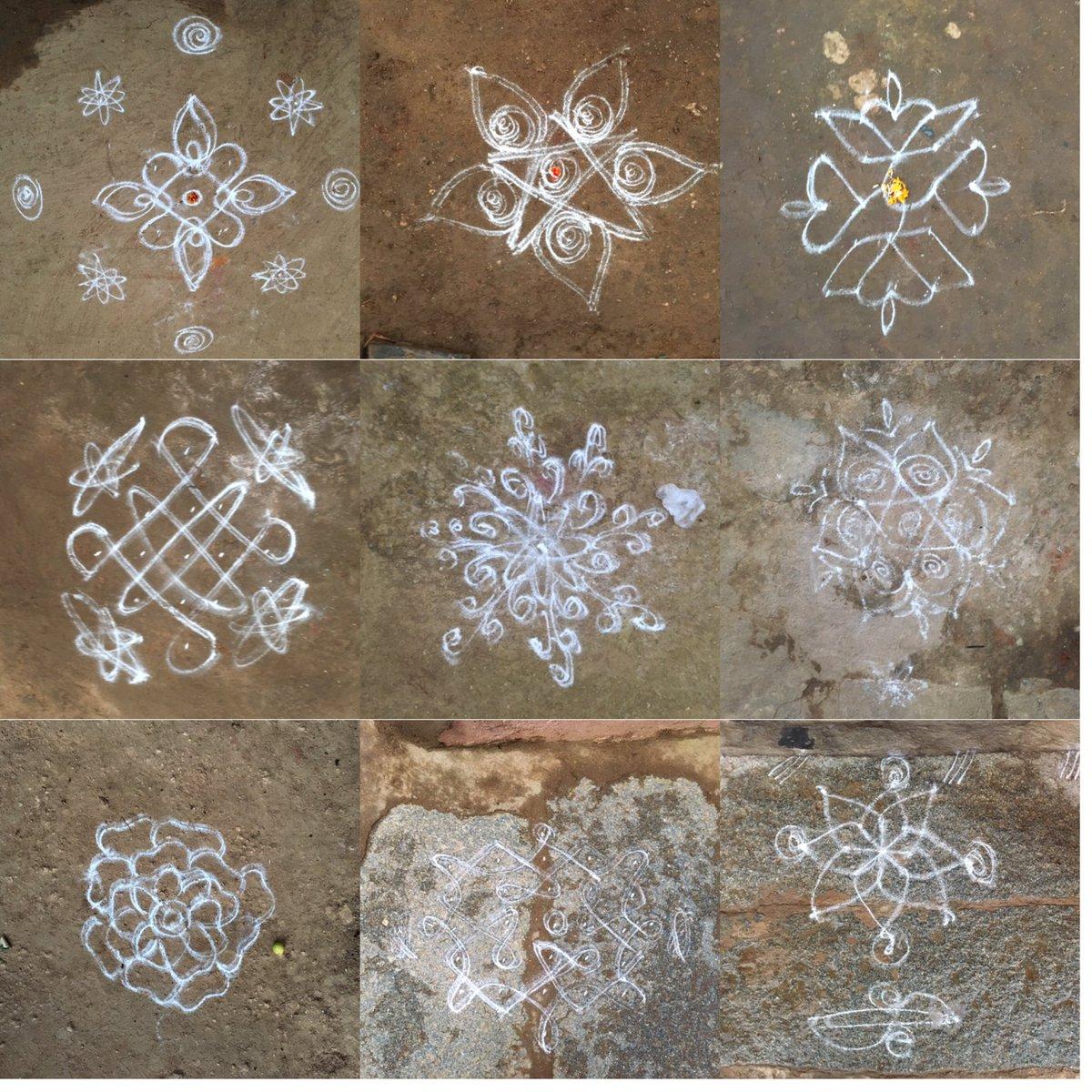 朝起きて暇だったので村中のコーラム(ヒンドゥー教家の門前に描かれる魔除け)集めてみた。シンプルなものから複雑なものまで様々。女性が石灰のようなもを使って器用に描いていた。 https://t.co/DuEDJsBj12