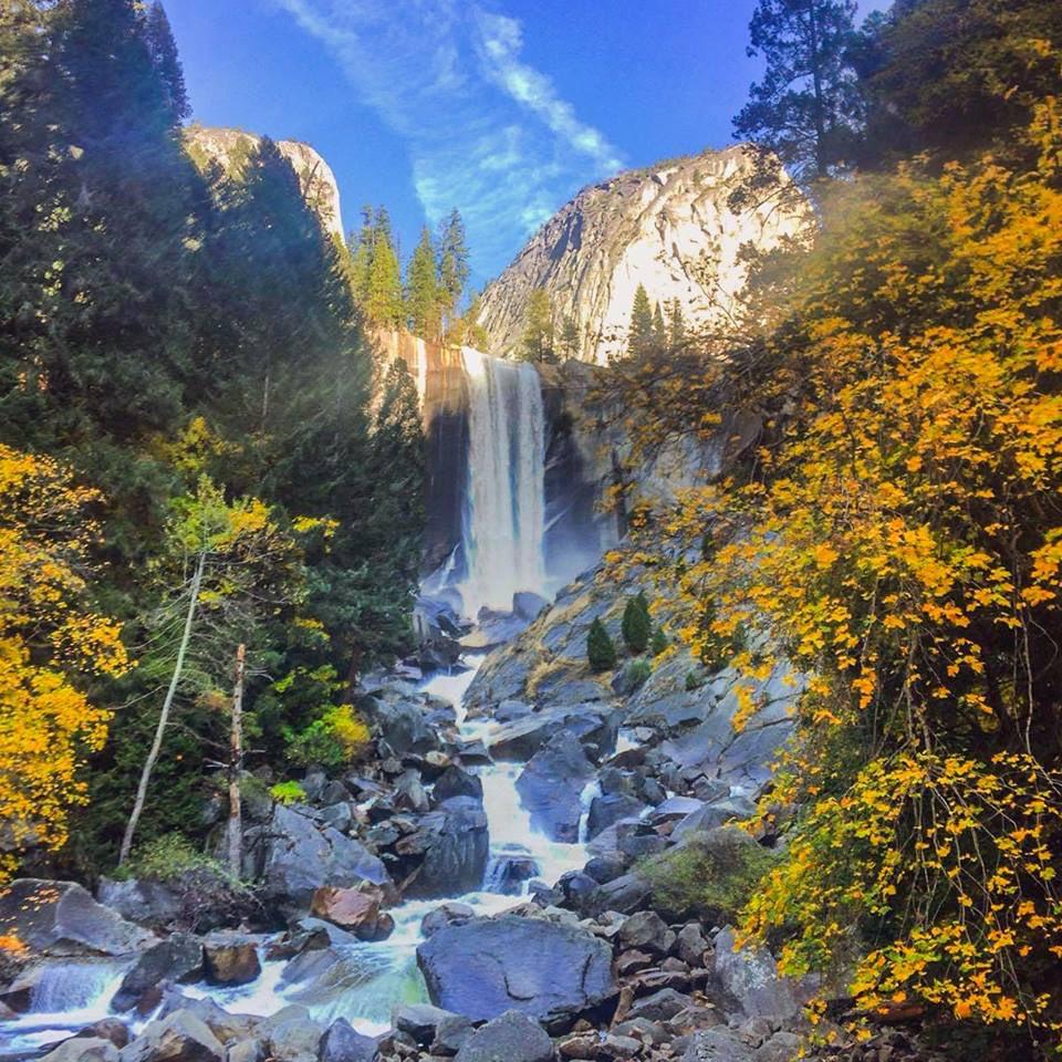 Yellow trees frame Vernal Falls @YosemiteNPS #California #fall