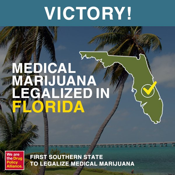 Florida has become the first southern state to legalize medical #marijuana https://t.co/XuSheZN39t