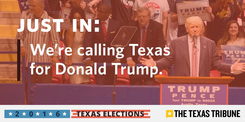 BREAKING: We're calling Texas for Donald Trump. Latest results: https://t.co/Z5vTv0IU1T #ElectionNight #texasvotes2016 https://t.co/gZpSG70ax4
