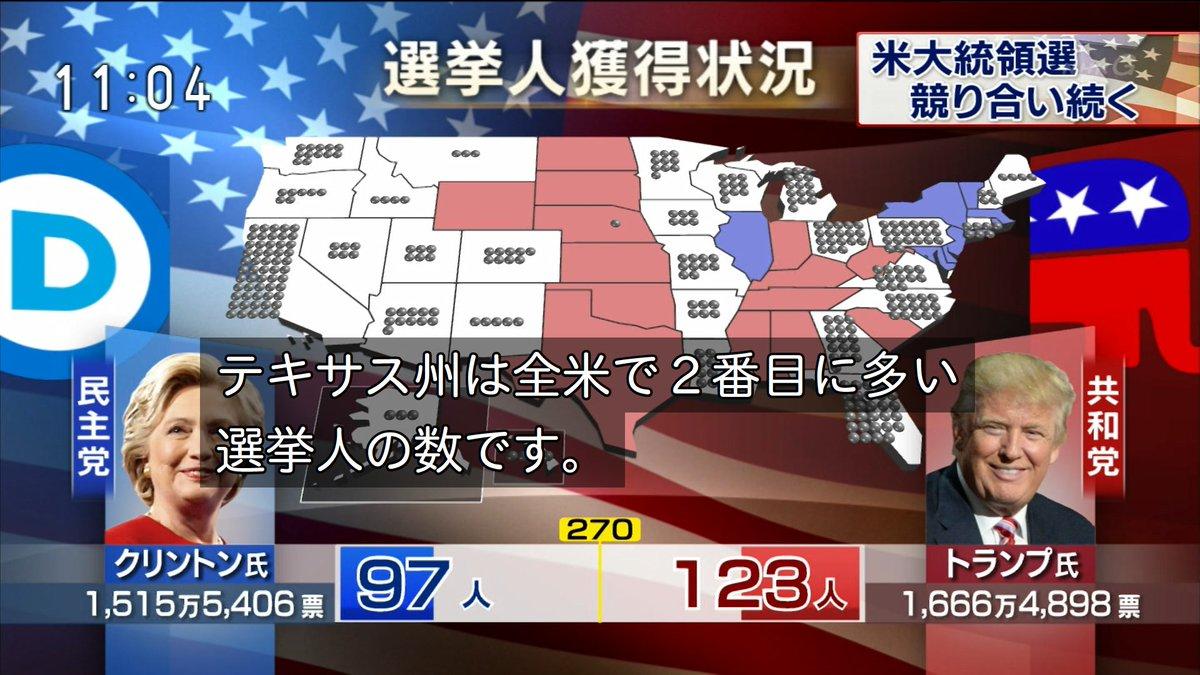 各局、大統領選挙開票速報を放送中。 テレビ東京は、蟹。