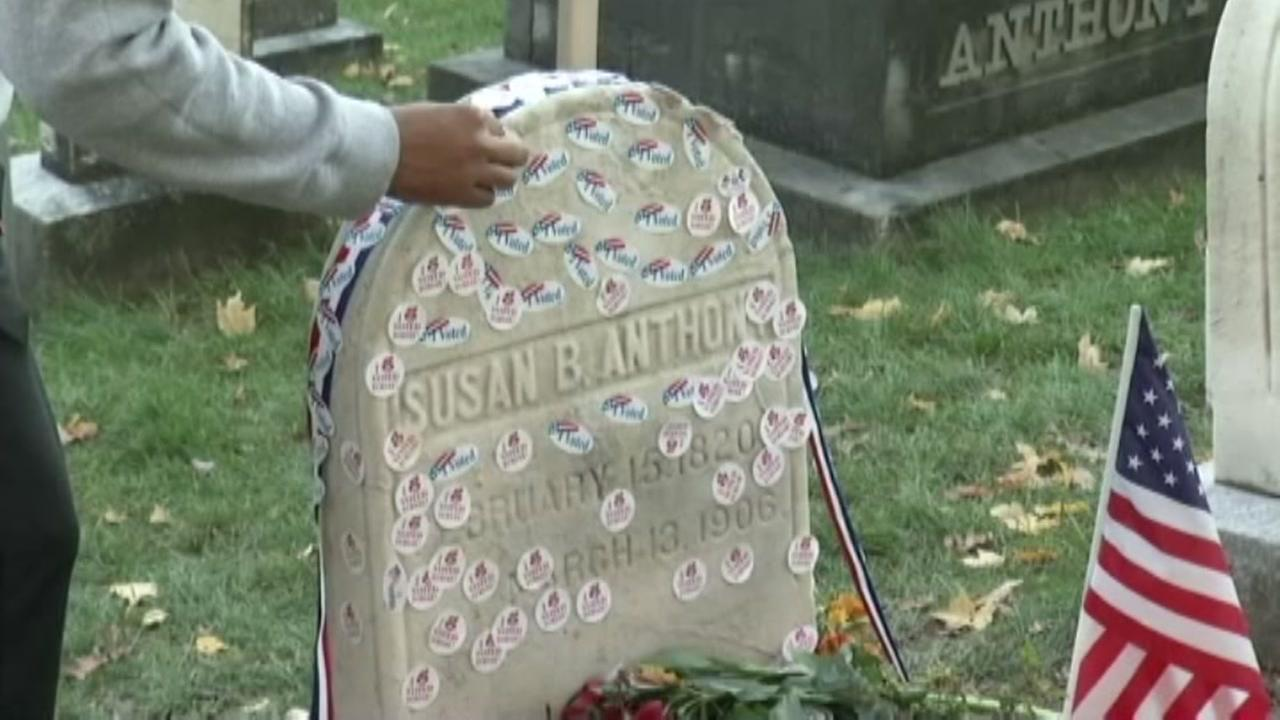 "A steady stream of voters left their ""I Voted"" stickers on Susan B. Anthony's grave today. https://t.co/rpGoR3TWqo https://t.co/rqc4HyFpvK"