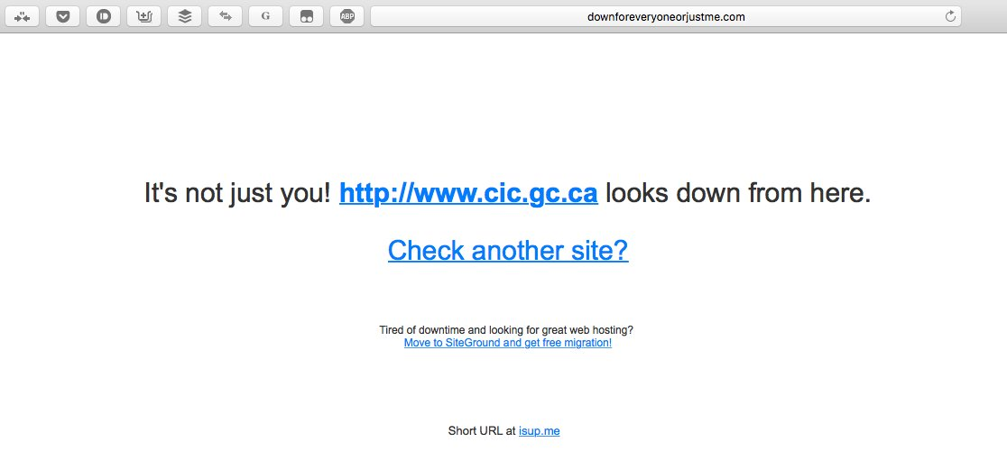 Yep. Canada's immigration website has crashed from server overload. #USElection2016 https://t.co/OSlyS9S11a