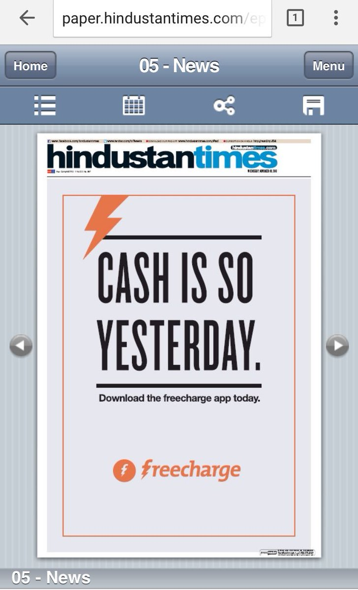 Freecharge ad in HT today, loved it