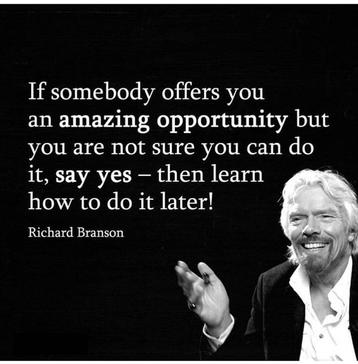 If Someone Offers You An Amazing Opportunity... @10MillionMiler #entrepeneur #Leadership RT @richardbranson @foundr https://t.co/BzhjOU0rcX