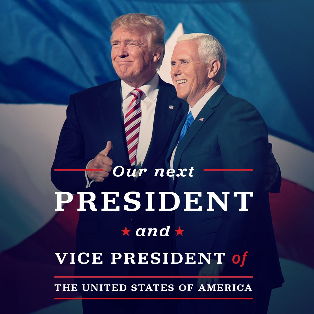 Congratulations to President-elect @realDonaldTrump and VP-elect @mike_pence on their historic win! We did it! https://t.co/7Rr1K7SeTA